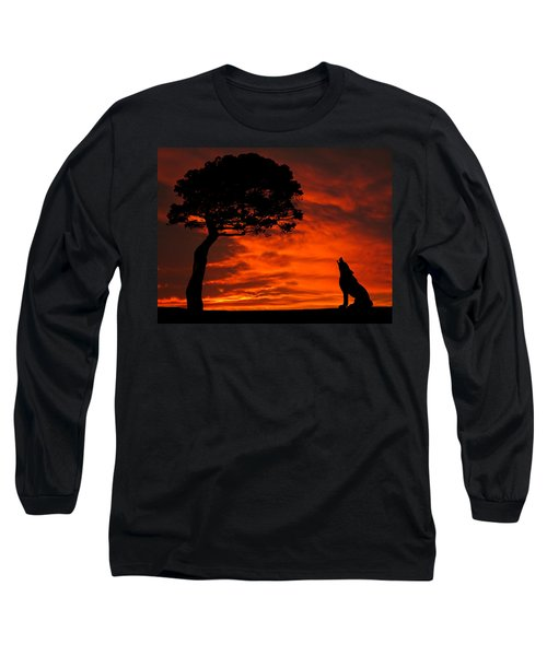 Wolf Calling For Mate Sunset Silhouette Series Long Sleeve T-Shirt
