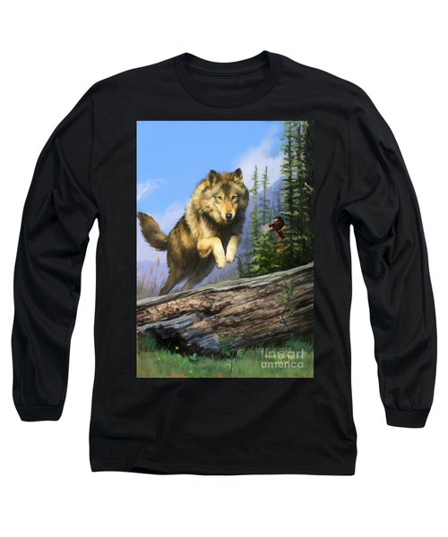Long Sleeve T-Shirt featuring the painting Wolf Run Indian Hunter by Rob Corsetti