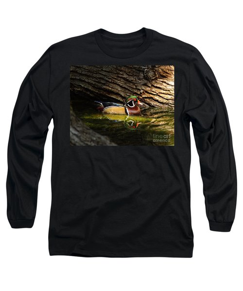 Wood Duck In Wood Long Sleeve T-Shirt