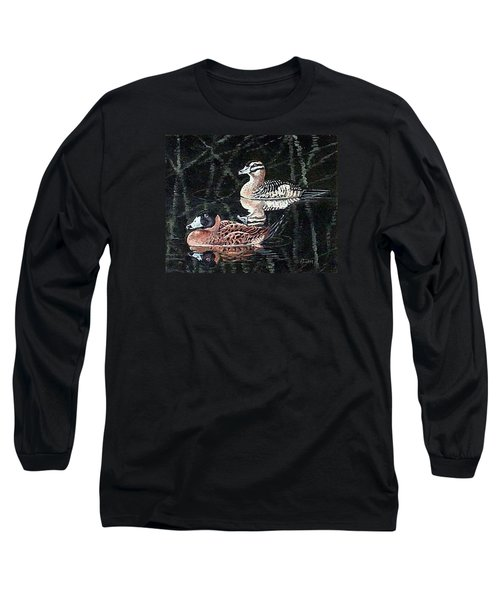 Long Sleeve T-Shirt featuring the painting Wood Ducks Study by Donna Tucker