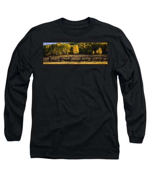 Wooden Fence And Aspen Trees Long Sleeve T-Shirt