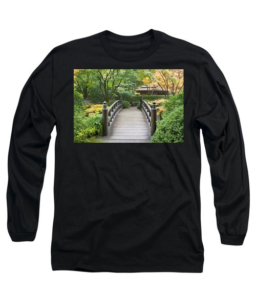 Long Sleeve T-Shirt featuring the photograph Wooden Foot Bridge In Japanese Garden by JPLDesigns