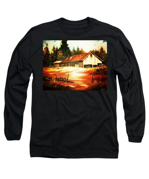 Woodland Barn In Autumn Long Sleeve T-Shirt by Al Brown