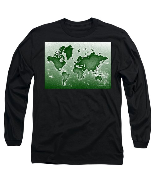 World Map Novo In Green Long Sleeve T-Shirt by Eleven Corners