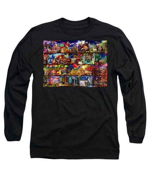 World Travel Book Shelf Long Sleeve T-Shirt by Aimee Stewart