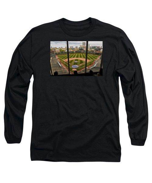Wrigley Field Press Box Long Sleeve T-Shirt by Tom Gort