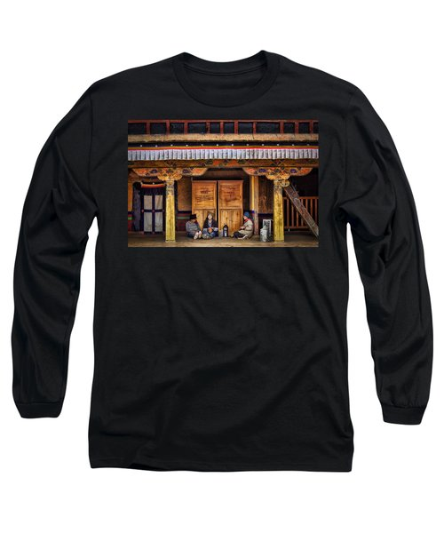 Yak Butter Tea Break At The Potala Palace Long Sleeve T-Shirt by Joan Carroll