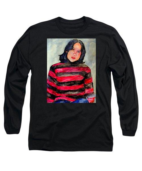 Long Sleeve T-Shirt featuring the painting Yanti P by Jason Sentuf
