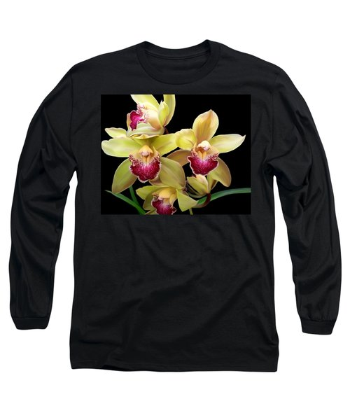 Yellow And Pink Orchids Long Sleeve T-Shirt