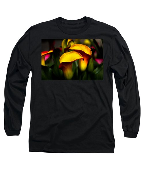 Yellow And Red Calla Lily Long Sleeve T-Shirt by Menachem Ganon
