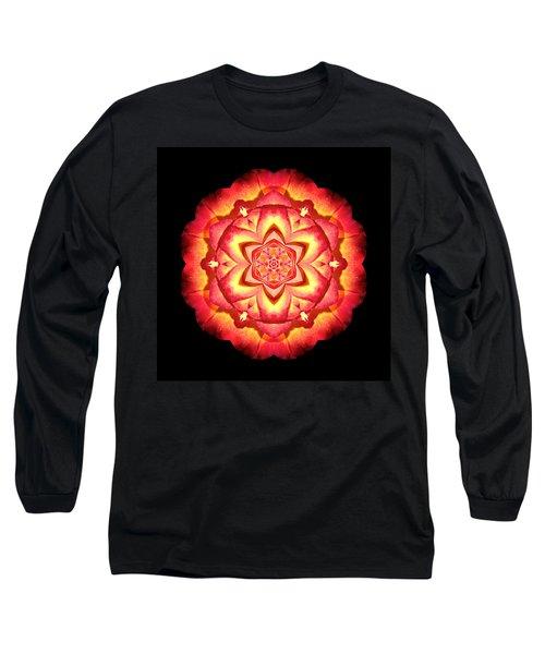Yellow And Red Rose II Flower Mandalaflower Mandala Long Sleeve T-Shirt