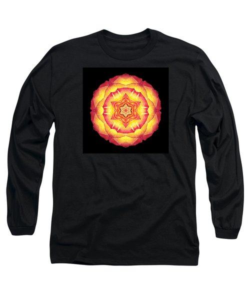 Yellow And Red Rose IIi Flower Mandala Long Sleeve T-Shirt