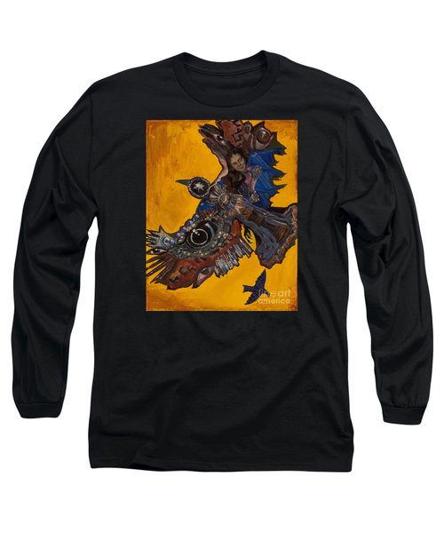 Yellow Crow Long Sleeve T-Shirt by Emily McLaughlin