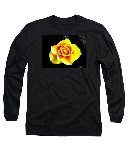 Yellow Flower On A Dark Background Long Sleeve T-Shirt