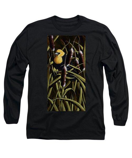 Yellow Headed Blackbird And Cattails Long Sleeve T-Shirt