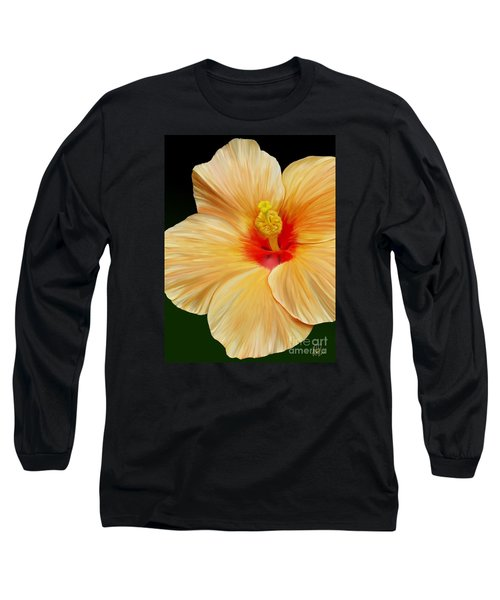 Long Sleeve T-Shirt featuring the painting Yellow Hibiscus by Rand Herron