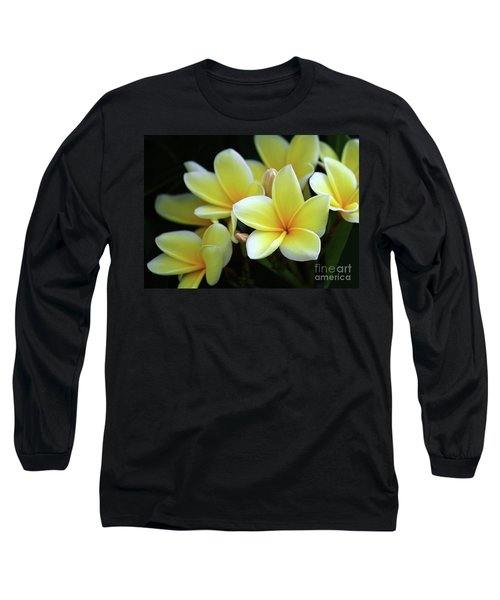 Yellow Plumeria Cascade Long Sleeve T-Shirt