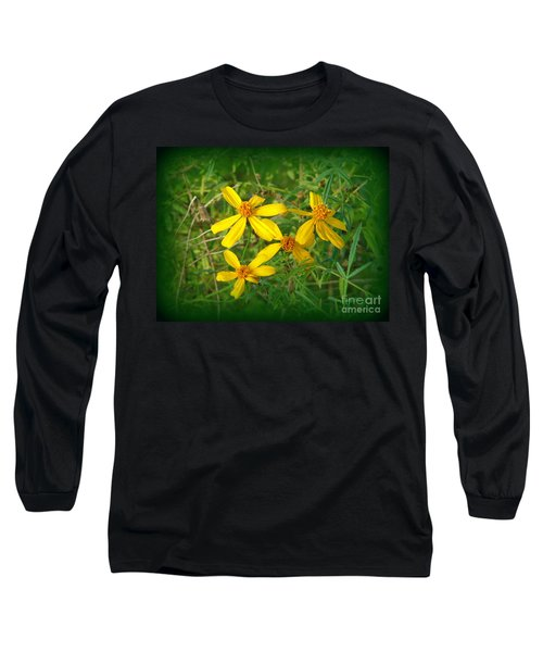 Long Sleeve T-Shirt featuring the photograph Yellow Quartet by Lew Davis