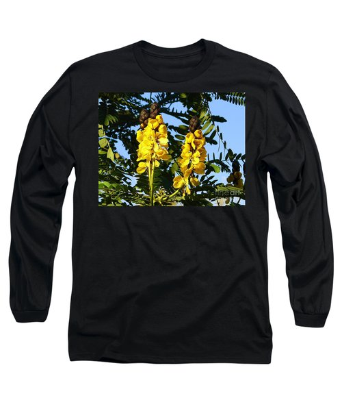 Long Sleeve T-Shirt featuring the photograph Yellow Twins by Lew Davis
