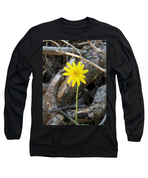 Yellow Wildflower Long Sleeve T-Shirt by Laurel Powell
