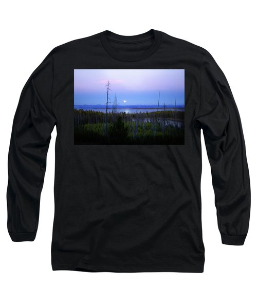 Long Sleeve T-Shirt featuring the photograph Yellowstone Moon by Ann Lauwers