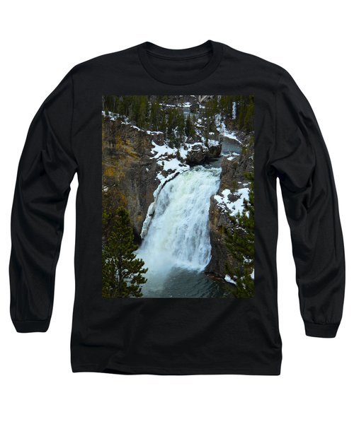 Long Sleeve T-Shirt featuring the photograph Yellowstone Upper Falls In Spring by Michele Myers