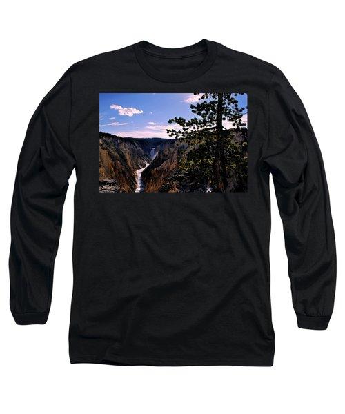 Yellowstone Waterfall Long Sleeve T-Shirt by Matt Harang