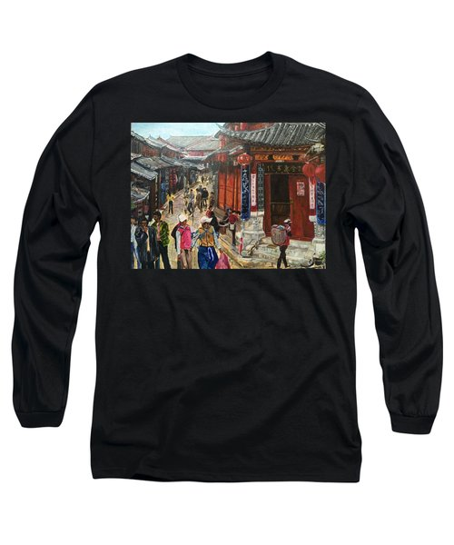 Long Sleeve T-Shirt featuring the painting Yesterday Once More by Belinda Low