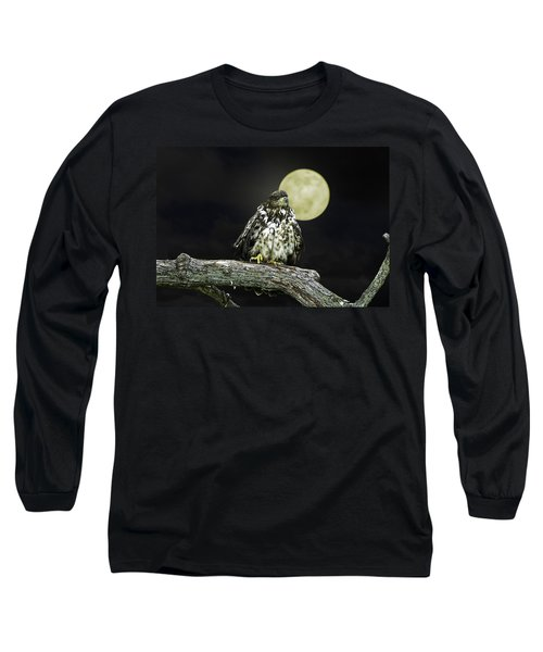 Long Sleeve T-Shirt featuring the photograph Young Bald Eagle By Moon Light by John Haldane