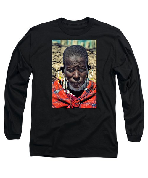 Long Sleeve T-Shirt featuring the photograph Portrait Of Young Maasai Woman At Ngorongoro Conservation Tanzania by Amyn Nasser