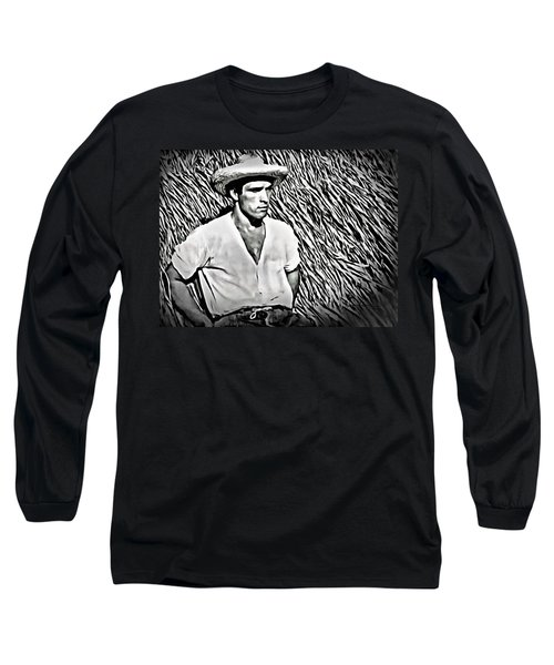 Young Man With Straw Hat Long Sleeve T-Shirt