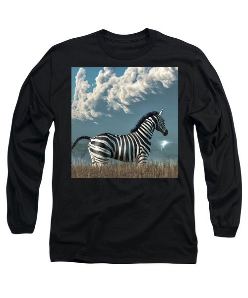 Zebra And Approaching Storm Long Sleeve T-Shirt