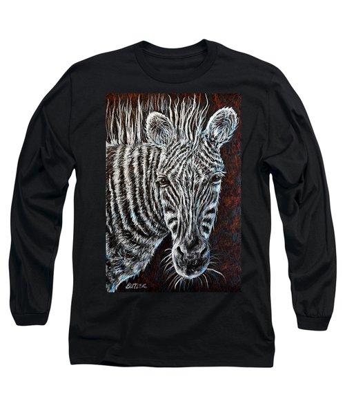 Zebra Long Sleeve T-Shirt by Gail Butler