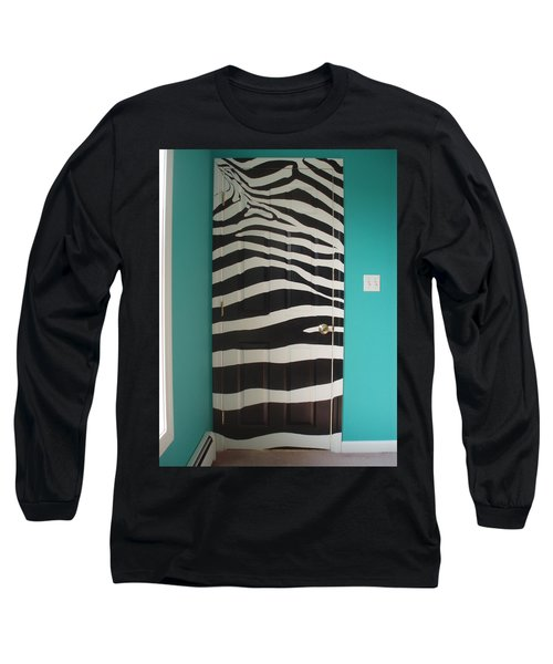 Zebra Stripe Mural - Door Number 2 Long Sleeve T-Shirt by Sean Connolly