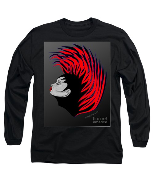 Long Sleeve T-Shirt featuring the drawing Zee Fire by Marianne NANA Betts