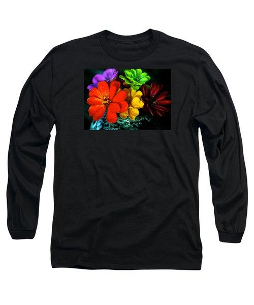 Zinnias Long Sleeve T-Shirt by Lehua Pekelo-Stearns