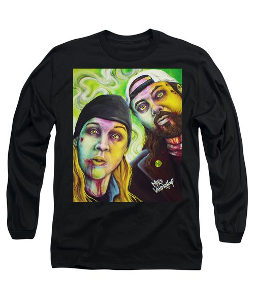 Zombie Jay And Silent Bob Long Sleeve T-Shirt by Mike Vanderhoof