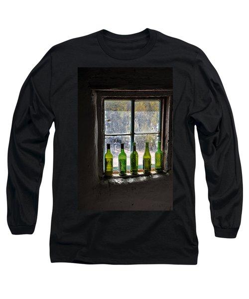 Green Bottles In Window Long Sleeve T-Shirt