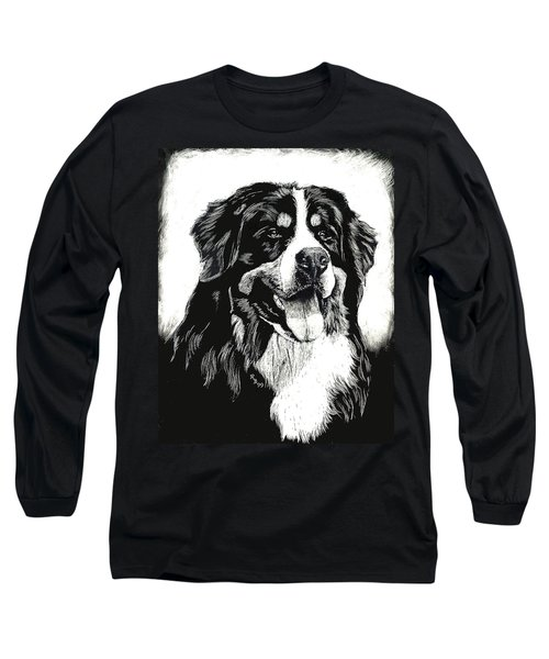 Long Sleeve T-Shirt featuring the drawing Bernese Mountain Dog by Rachel Hames