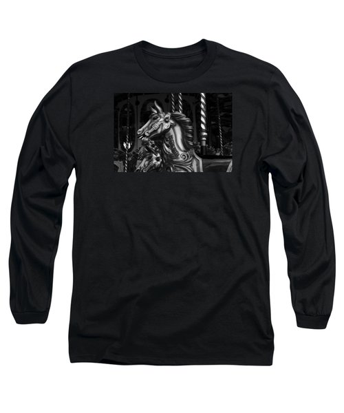 Long Sleeve T-Shirt featuring the photograph Carousel Horses Mono by Steve Purnell
