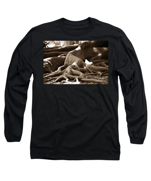 Fig Tree Roots Long Sleeve T-Shirt by Angela Murray