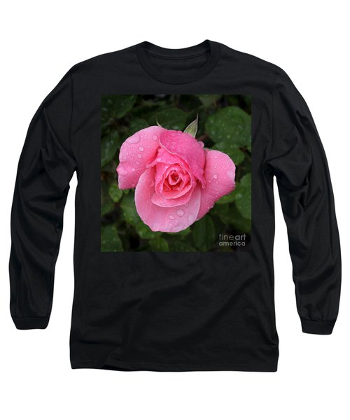 Pink Rose Macro Shot With Rain Drops Long Sleeve T-Shirt