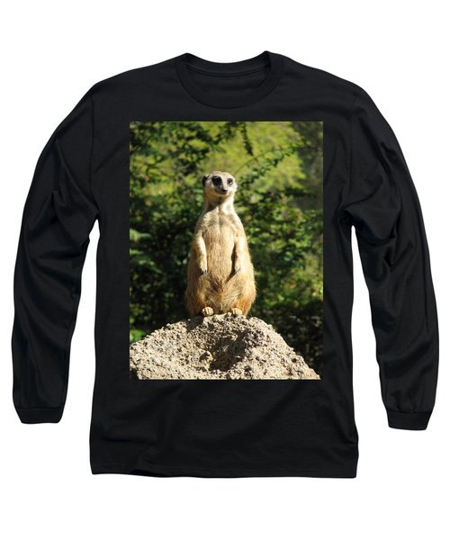 Long Sleeve T-Shirt featuring the photograph Sentinel Meerkat by Carla Parris