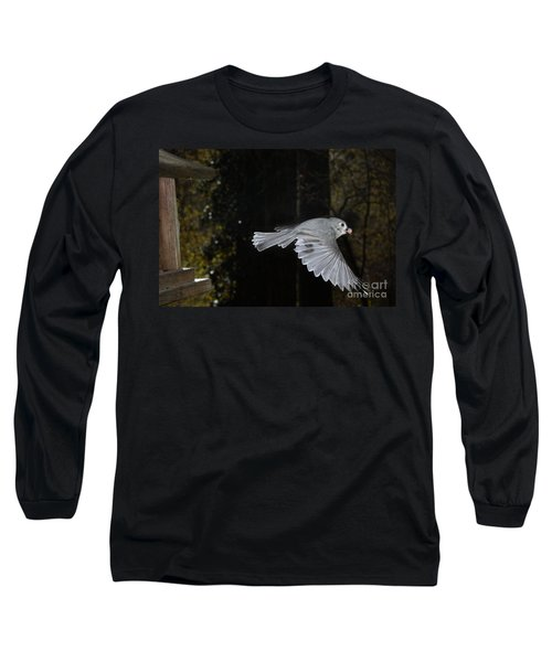 Tufted Titmouse In Flight Long Sleeve T-Shirt
