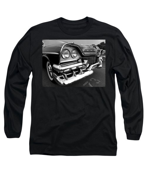 58 Plymouth Fury Black And White Long Sleeve T-Shirt