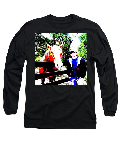 Long Sleeve T-Shirt featuring the photograph a Boy and his Horse by George Pedro