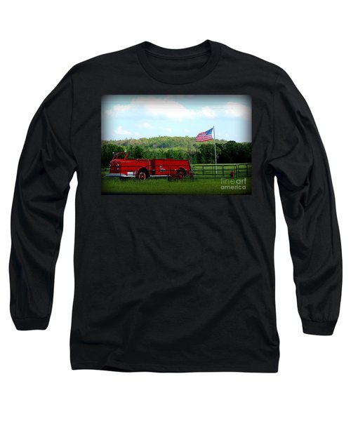 Long Sleeve T-Shirt featuring the photograph A Tribute To The Fireman by Kathy  White