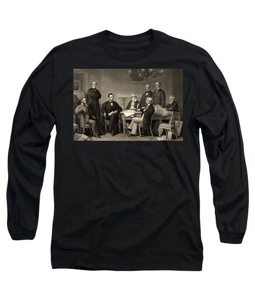 Long Sleeve T-Shirt featuring the photograph Abraham Lincoln At The First Reading Of The Emancipation Proclamation - July 22 1862 by International  Images