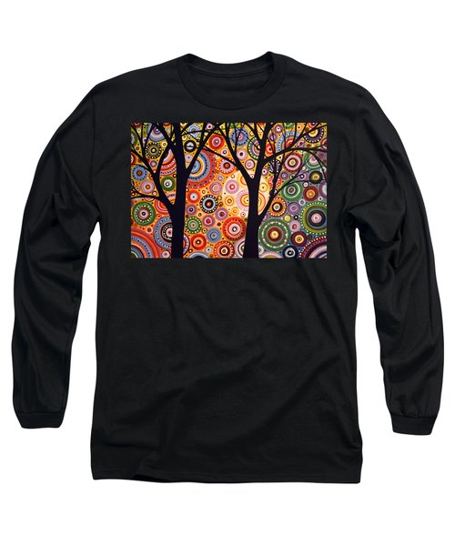 Long Sleeve T-Shirt featuring the painting Abstract Modern Tree Landscape Distant Worlds By Amy Giacomelli by Amy Giacomelli