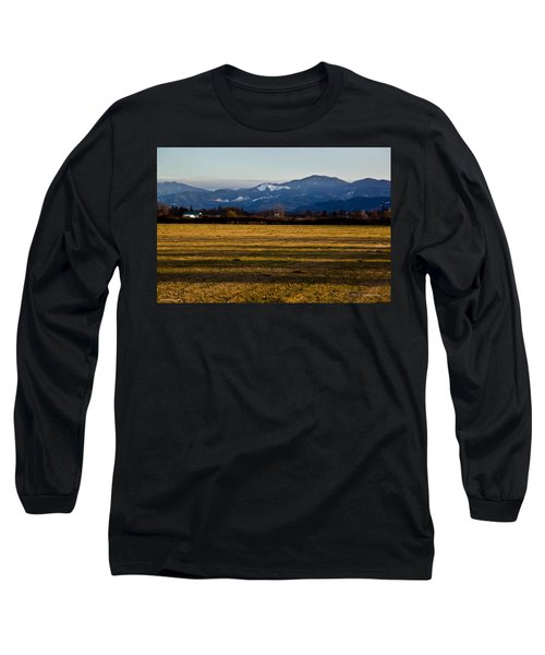 Afternoon Shadows Across A Rogue Valley Farm Long Sleeve T-Shirt by Mick Anderson